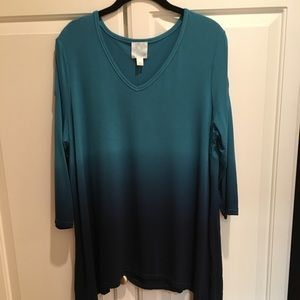 Ombré Split Sleeve Tunic w/ Sharkbite Hem